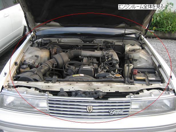 中古車のエンジンルームの全体を見る